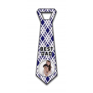 Personalized decorative blue & white strips hanging Tie Design