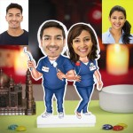 Personalized Dentist Couple Caricature Photo Stand In