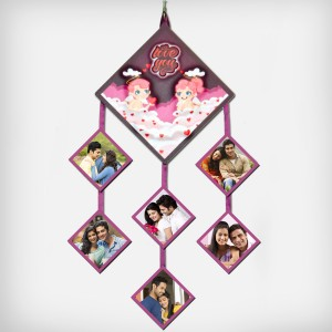 Personalized Diamond shaped Emboss Six Photo Wall Hanging