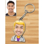 Personalized Doctor Caricature Key Ring