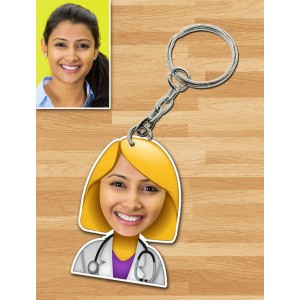 Personalized Doctor Female Caricature Key Ring