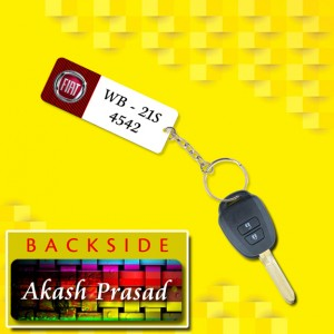 Personalized Fiat Car key ring with name and number and logo