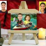 Personalized Fishing Couple Caricature Easel Frame