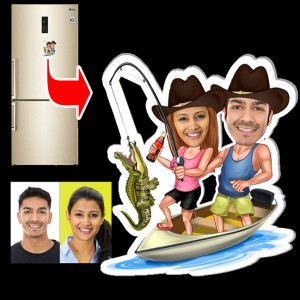 Personalized Fishing couple caricature fridge magnet