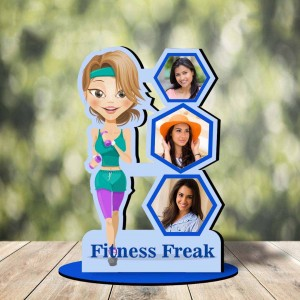 Personalized Fitness Freak cutout photo collage stand