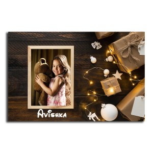 Personalized Fridge Magnet Christmas lights backview