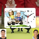 Personalized Golf Crazy Couple Caricature Table Clock