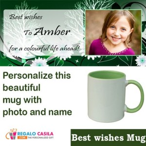 Personalized green mug for best wishes