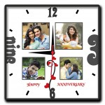 Personalized happy anniversary 4 picture square wall clock