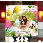 Personalized Happy Anniversary ceramic Tile flower design