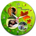 Personalized happy anniversary round wall clock with autumn leaves design