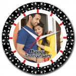 Personalized happy anniversary round wall clock with parsi floral design