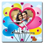 Personalized happy anniversary square wall clock with heart balloons