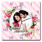 Personalized happy anniversary square wall clock with light pink design