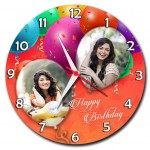 Personalized happy birthday balloon round wall clock 2 pictures