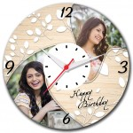 Personalized happy birthday round wall clock with 2 pictures