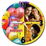 Personalized happy birthday sweetheart round wall clock 2 pictures