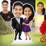 Personalized Happy Couple Caricature Photo Stand In