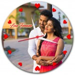 Personalized heart dial round wall clock