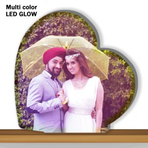 Personalized Heart Shaped multi color glow in dark LED frame