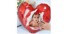 Personalized heart shaped Sequin Cushion Magic Reveal Photo Red Heart Sequin