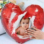 Personalized heart shaped Sequin Cushion Magic Reveal Photo