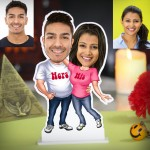 Personalized His Her Couple Caricature Photo Stand In