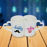 Personalized Hubby and Wifey couple photo mug set