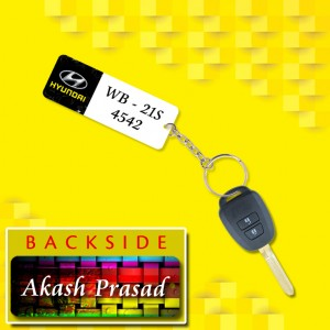 Personalized Hyundai Car key ring with name and number and logo