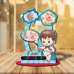 Personalized I am Super baby MDF cutout photo collage stand