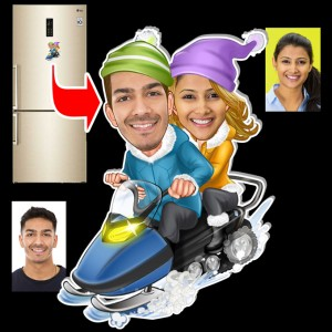 Personalized Ice Skating couple caricature fridge magnet