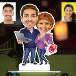 Personalized IT Professional Couple Caricature Photo Stand In