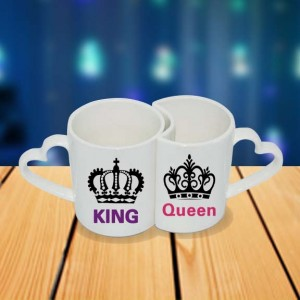 Personalized King Queen couple photo mug set