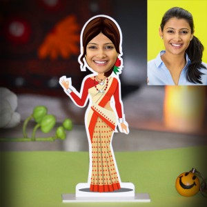 Personalized Lady from Assam Caricature Photo Stand In