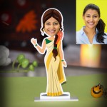 Personalized Lady from Kerala Caricature Photo Stand In
