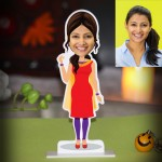 Personalized Lady in Churidar set Caricature Photo Stand In