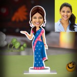 Personalized Lady in Saree Caricature Photo Stand In