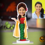 Personalized Lady in traditional dress Caricature Photo Stand In