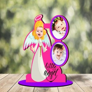 Personalized Little Angel MDF cutout photo collage stand