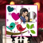 Personalized love birds with heart square table clock