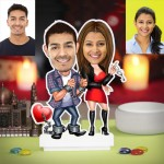 Personalized Love-locked Couple Caricature Photo Stand In