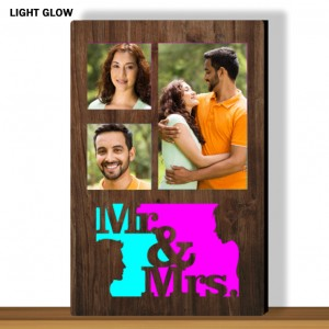 Personalized Mr and Mrs glow in dark LED frame