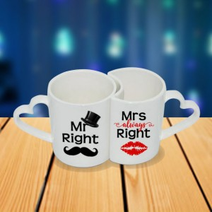 Personalized Mr. Right and Mrs. always right couple photo mug set