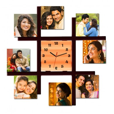 Personalized multi photo frame with wall clock