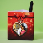 Personalized Pen Stand Heart Shape Photo with 3 pictures