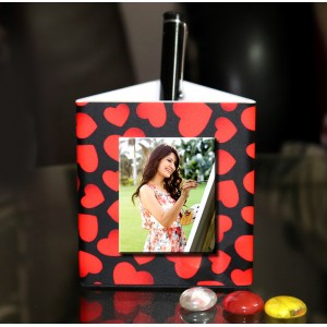 Personalized Pen Stand love theme with 3 pictures