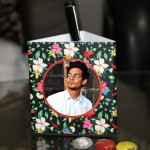 Personalized Pen Stand with flower design with 3 pictures