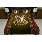 Personalized photo bed sheet with pillow cover set - design 001