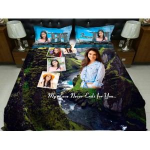 Personalized photo bed sheet with pillow cover set - design 002