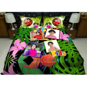 Personalized photo bed sheet with pillow cover set - design 003